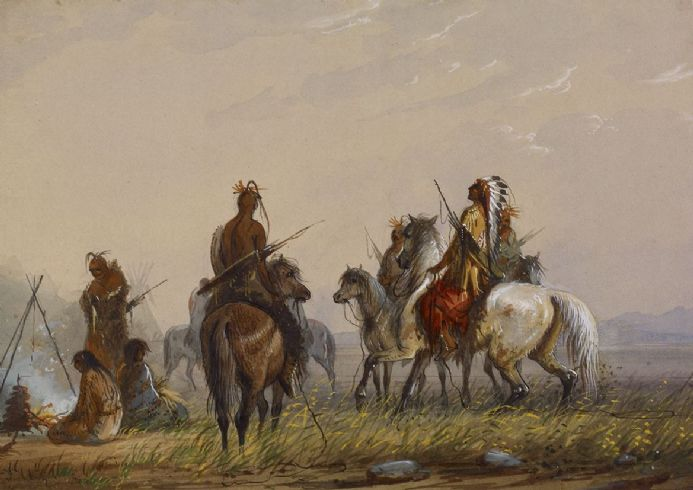 Miller, Alfred Jacob: Expedition to Capture Wild Horses - Sioux. Fine Art Print/Poster. Sizes: A4/A3/A2/A1 (003849)